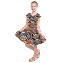 Colorful Oriental Bowls On Local Market In Turkey Kids  Short Sleeve Dress