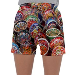 Colorful Oriental Bowls On Local Market In Turkey Sleepwear Shorts