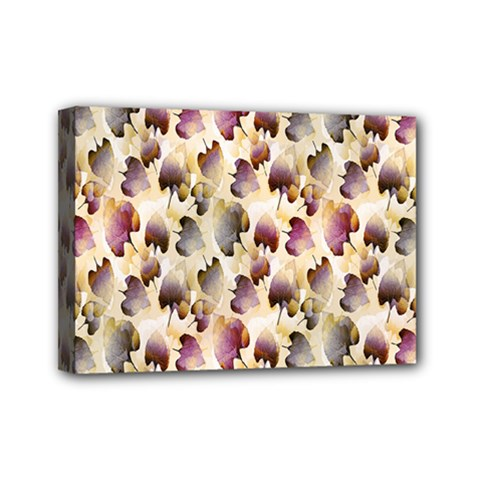 Random Leaves Pattern Background Mini Canvas 7  X 5