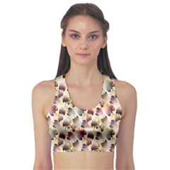 Random Leaves Pattern Background Sports Bra