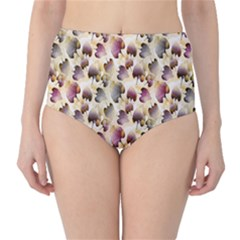Random Leaves Pattern Background High Waist Bikini Bottoms