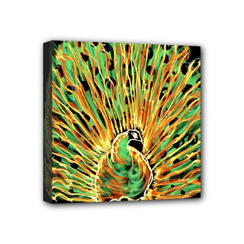 Unusual Peacock Drawn With Flame Lines Mini Canvas 4  X 4  by BangZart