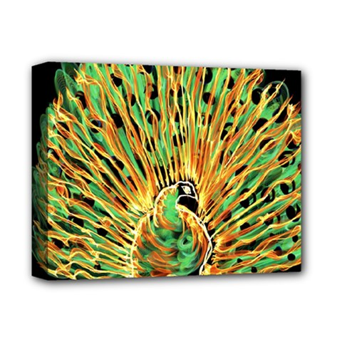 Unusual Peacock Drawn With Flame Lines Deluxe Canvas 14  X 11  by BangZart