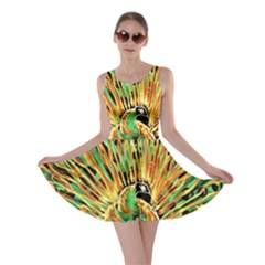 Unusual Peacock Drawn With Flame Lines Skater Dress by BangZart