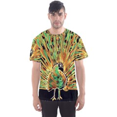 Unusual Peacock Drawn With Flame Lines Men s Sports Mesh Tee