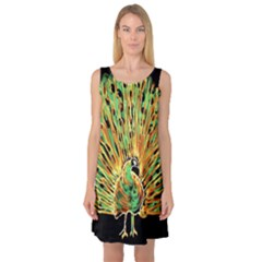 Unusual Peacock Drawn With Flame Lines Sleeveless Satin Nightdress