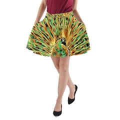 Unusual Peacock Drawn With Flame Lines A Line Pocket Skirt