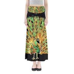Unusual Peacock Drawn With Flame Lines Full Length Maxi Skirt