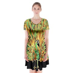 Unusual Peacock Drawn With Flame Lines Short Sleeve V Neck Flare Dress