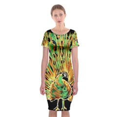 Unusual Peacock Drawn With Flame Lines Classic Short Sleeve Midi Dress