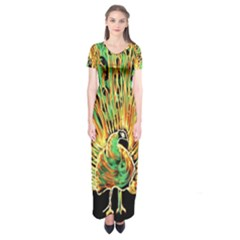 Unusual Peacock Drawn With Flame Lines Short Sleeve Maxi Dress