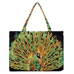 Unusual Peacock Drawn With Flame Lines Medium Zipper Tote Bag