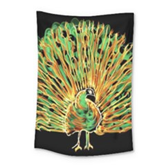 Unusual Peacock Drawn With Flame Lines Small Tapestry