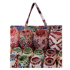 Colorful Oriental Candle Holders For Sale On Local Market Zipper Large Tote Bag by BangZart