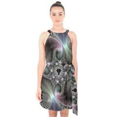 Precious Spiral Halter Collar Waist Tie Chiffon Dress