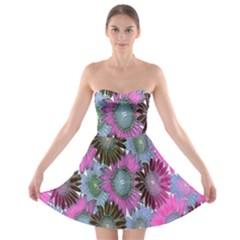Floral Pattern Background Strapless Bra Top Dress