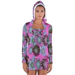 Floral Pattern Background Long Sleeve Hooded T Shirt