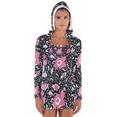 Oriental Style Floral Pattern Background Wallpaper Long Sleeve Hooded T Shirt