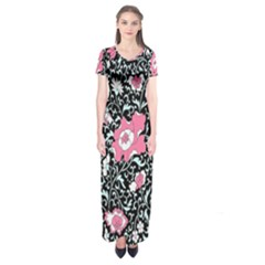 Oriental Style Floral Pattern Background Wallpaper Short Sleeve Maxi Dress