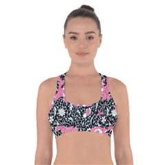 Oriental Style Floral Pattern Background Wallpaper Cross Back Sports Bra