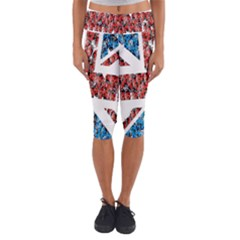 Fun And Unique Illustration Of The Uk Union Jack Flag Made Up Of Cartoon Ladybugs Capri Yoga Leggings