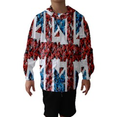 Fun And Unique Illustration Of The Uk Union Jack Flag Made Up Of Cartoon Ladybugs Hooded Wind Breaker (kids)