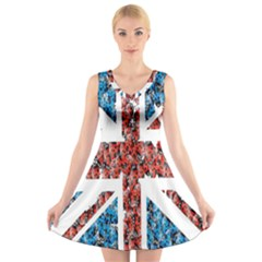 Fun And Unique Illustration Of The Uk Union Jack Flag Made Up Of Cartoon Ladybugs V Neck Sleeveless Skater Dress