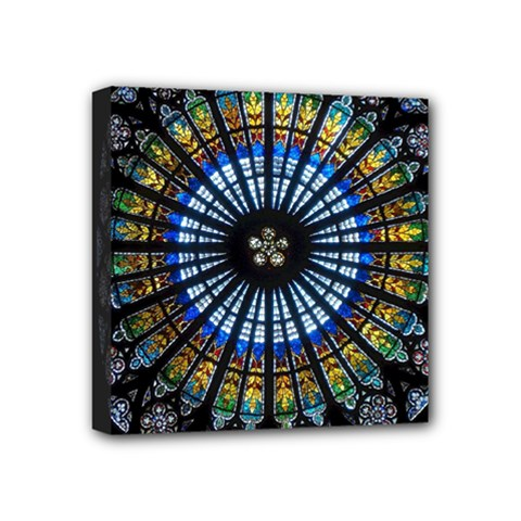 Stained Glass Rose Window In France s Strasbourg Cathedral Mini Canvas 4  X 4