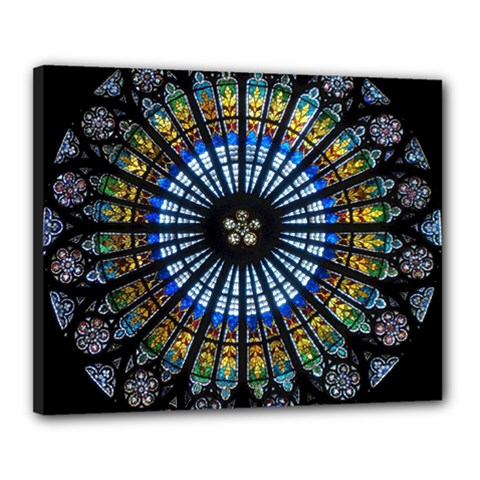Stained Glass Rose Window In France s Strasbourg Cathedral Canvas 20  X 16