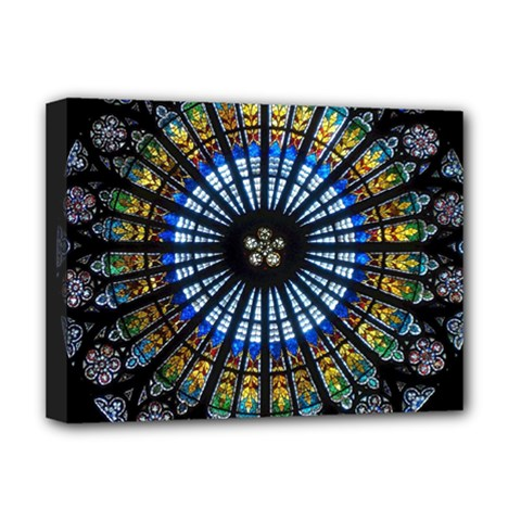 Stained Glass Rose Window In France s Strasbourg Cathedral Deluxe Canvas 16  X 12   by BangZart