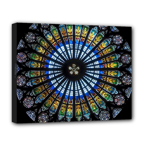 Stained Glass Rose Window In France s Strasbourg Cathedral Deluxe Canvas 20  X 16   by BangZart