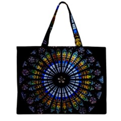 Stained Glass Rose Window In France s Strasbourg Cathedral Zipper Mini Tote Bag by BangZart