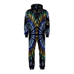 Stained Glass Rose Window In France s Strasbourg Cathedral Hooded Jumpsuit (kids)