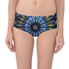 Stained Glass Rose Window In France s Strasbourg Cathedral Mid Waist Bikini Bottoms