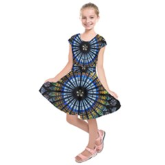 Stained Glass Rose Window In France s Strasbourg Cathedral Kids  Short Sleeve Dress by BangZart