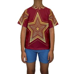 Christmas Star Seamless Pattern Kids  Short Sleeve Swimwear