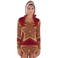 Christmas Star Seamless Pattern Long Sleeve Hooded T Shirt by BangZart
