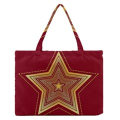 Christmas Star Seamless Pattern Medium Zipper Tote Bag