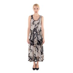 Dragon Pattern Background Sleeveless Maxi Dress