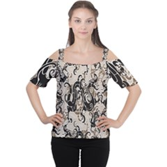 Dragon Pattern Background Cutout Shoulder Tee