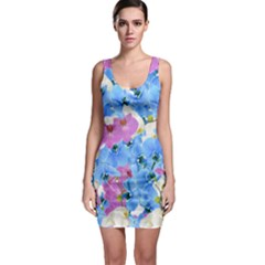 Tulips Floral Pattern Sleeveless Bodycon Dress by paulaoliveiradesign
