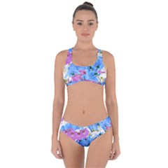 Tulips Floral Pattern Criss Cross Bikini Set
