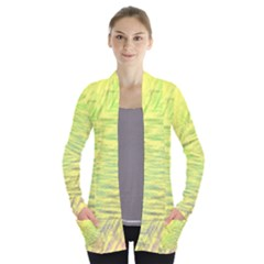 Paint On A Yellow Background                  Women s Open Front Pockets Cardigan
