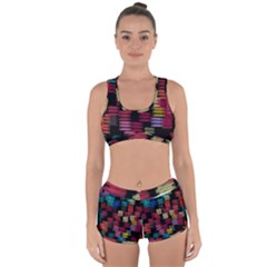 Colorful Horizontal Paint Strokes                        Racerback Boyleg Bikini Set