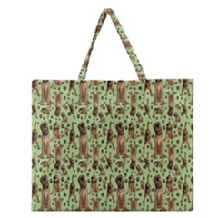 Puppy Dog Pattern Zipper Large Tote Bag by BangZart
