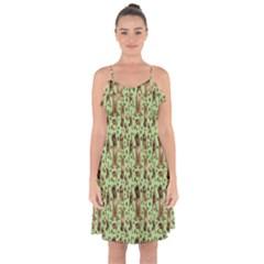 Puppy Dog Pattern Ruffle Detail Chiffon Dress