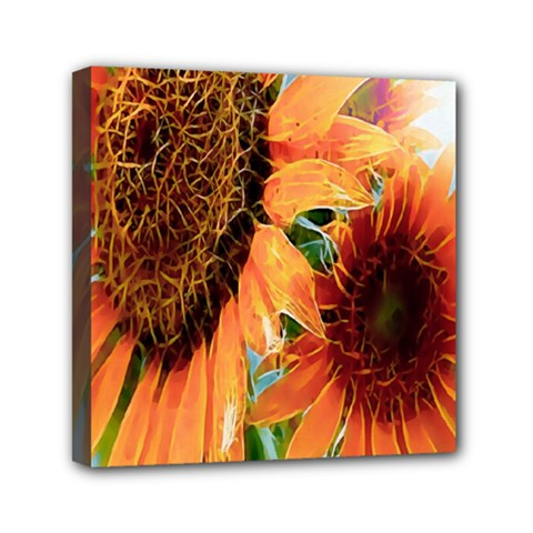 Sunflower Art  Artistic Effect Background Mini Canvas 6  X 6  by BangZart