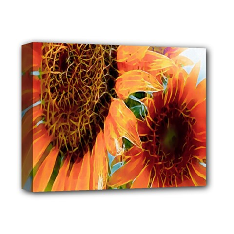 Sunflower Art  Artistic Effect Background Deluxe Canvas 14  X 11