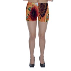 Sunflower Art  Artistic Effect Background Skinny Shorts