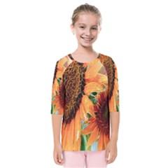 Sunflower Art  Artistic Effect Background Kids  Quarter Sleeve Raglan Tee